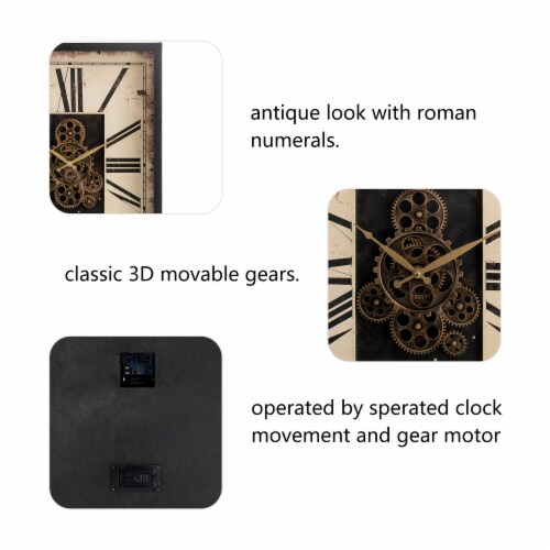 Glitzhome Vintage Rectangle Gear Clock Perspective: left