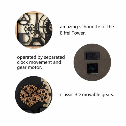 Glitzhome Industrial Metal & Wood Eiffel Tower Silhouette Gear Wall Clock Perspective: left