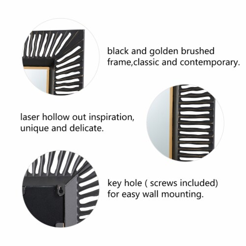 Glitzhome Oversized Modern Metal Wall Mirror - Black/Gold Perspective: left