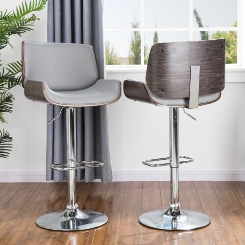 Glitzhome Midcentury Modern Adjustable Height Swivel Bar Stools - Gray Perspective: left