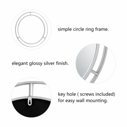 Glitzhome Oversized Deluxe Metal Round Wall Mirror - Silver Perspective: left