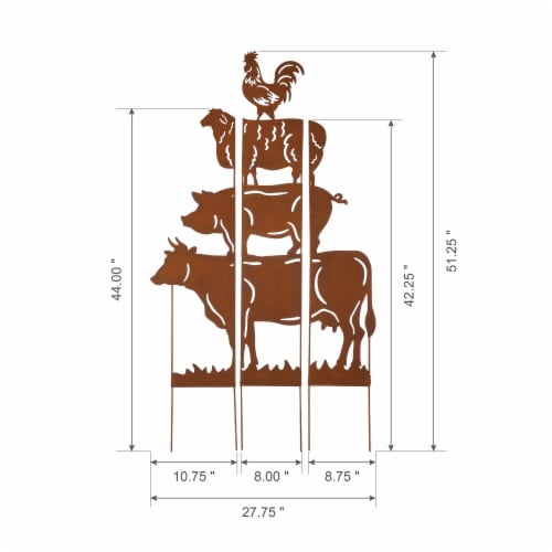 Glitzhome Farmhouse Silhouette Rustic Metal Yard Stake Perspective: left