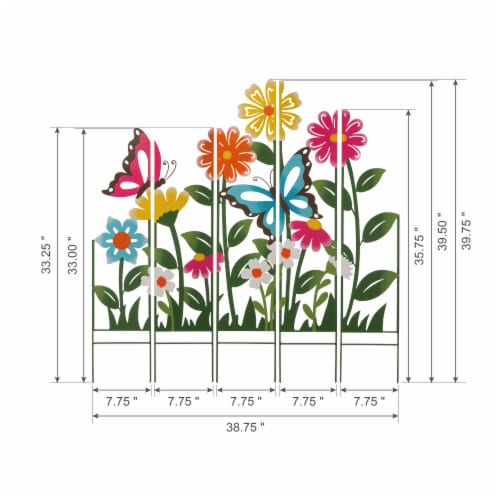 Glitzhome Metal Flowers Silhouette Yardstake Perspective: left