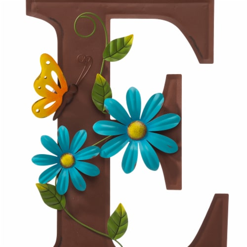 Glitzhome WELCOME with Flowers Yardstake or Wall Decor Perspective: left