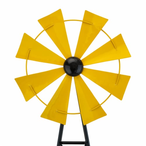 Glitzhome Metal Wind Spinner Yard Steak Spring Decor - Yellow Perspective: left