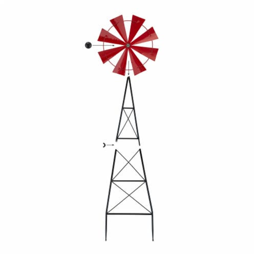 Glitzhome Metal Red Wind Spinner Yard Stake Spring Decor - Red Perspective: left