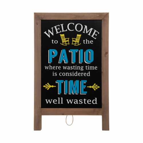 """Glitzhome """"Welcome to the Patio"""" Wood Framed Easel Porch Sign Perspective: left"""