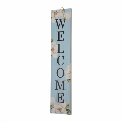 """Glitzhome Wooden """"WELCOME"""" Word Porch Sign Decor with Lilies Perspective: left"""