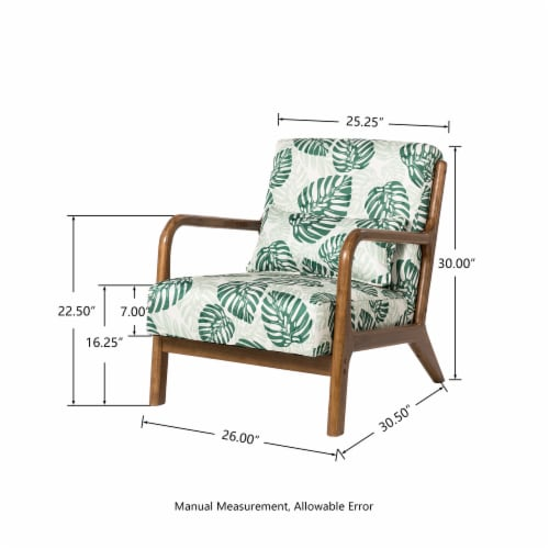 Glitzhome Mid-Centry Modern Fabric Accent Armchair - Patterned Perspective: left
