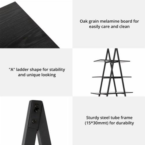 Glitzhome 4-Tiered Industrial Shelves - Black Oak Perspective: left