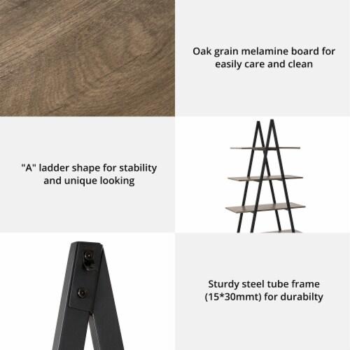Glitzhome 4-Tiered Metal & Wood Industrial Shelf - Oak Perspective: left