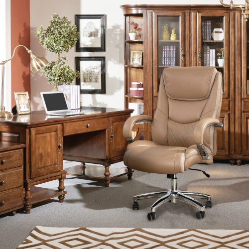 Glitzhome Leather Adjustable Height Swivel Chair - Camel Perspective: left