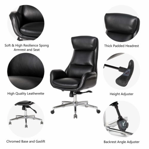Glitzhome Midcentury Air Leatherette Adjustable Swivel High Back Office Chair - Black Perspective: left
