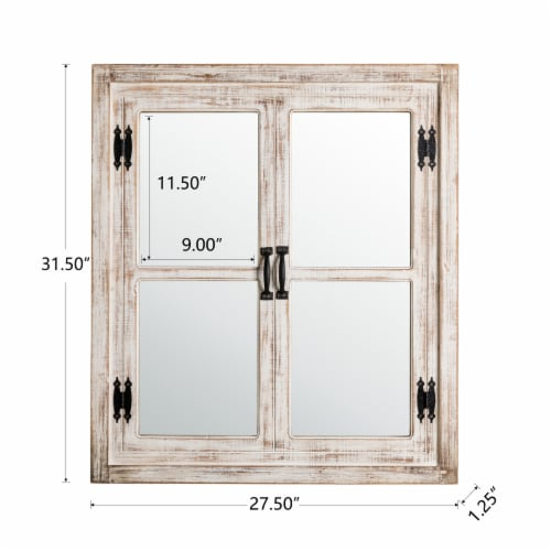 Glitzhome Oversized Farmhouse Wood Window Frame Wall Mirror Perspective: left