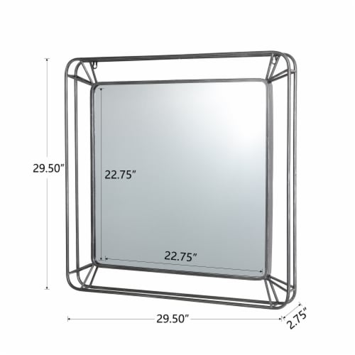 Glitzhome Modern Square Metal Frame Geometric Wall Mirror Perspective: left