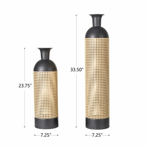 Glitzhome Boho Decorative Metal Floor Vases - Gold/Black Perspective: left