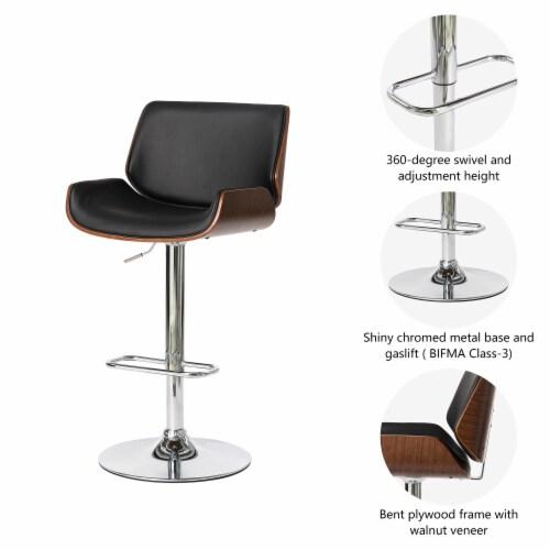 Glitzhome Modern PU and Walnut Bentwood Adjustable Swivel Bar Stool - Black Perspective: left