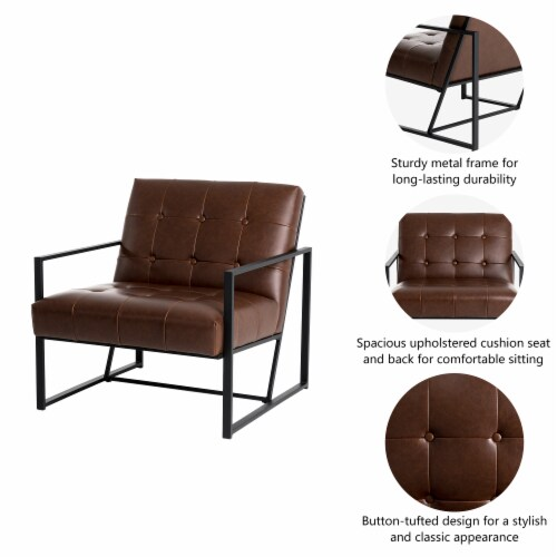 Glitzhome Mid-Century Modern PU Leather Tufted Accent Chair - Brown Perspective: left