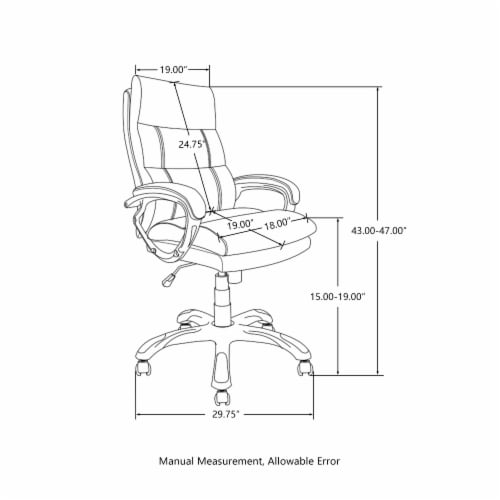 Glitzhome PU Leather Adjustable Swivel Office Chair - Brown Perspective: left