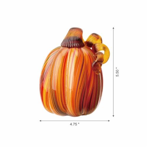 Glitzhome Multi-Striped Glass Pumpkin Perspective: left
