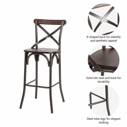 Glitzhome Rustic Steel Square Bar Table & Stools Set Perspective: left