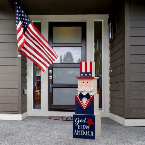 Glitzhome Patriotic & Easter Double-Sided Porch Sign Perspective: left