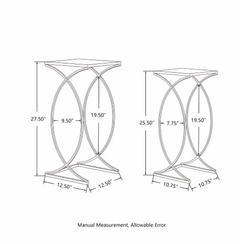 Glitzhome Metal with Glass Accent Table - Silver Perspective: left