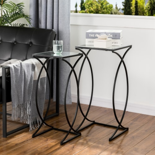Glitzhome Metal with Glass Accent Table - Black Perspective: left