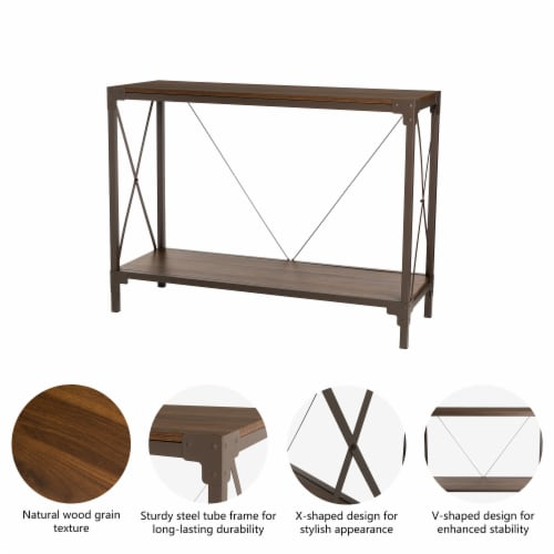 Glitzhome Modern Industry Metal/Wooden Console Table - Walnut Perspective: left