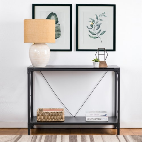 Glitzhome Modern Industry Metal/Wooden Console Table - Black Perspective: left