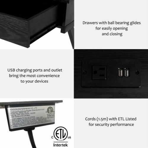 Glitzhome Modern Industry Metal/Wooden Writing Desk - Black Perspective: left