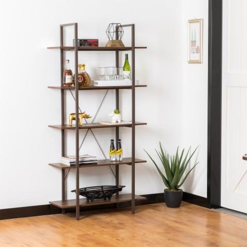 Glitzhome Modern Industry Metal/Wooden 5-Tier Bookcase & Shelves - Black/Walnut Perspective: left
