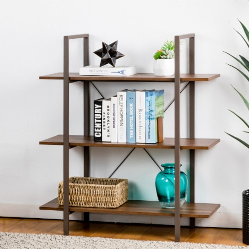 Glitzhome Modern Industry Metal/Wooden 3-Tier Bookcase & Shelves - Brown/Walnut Perspective: left
