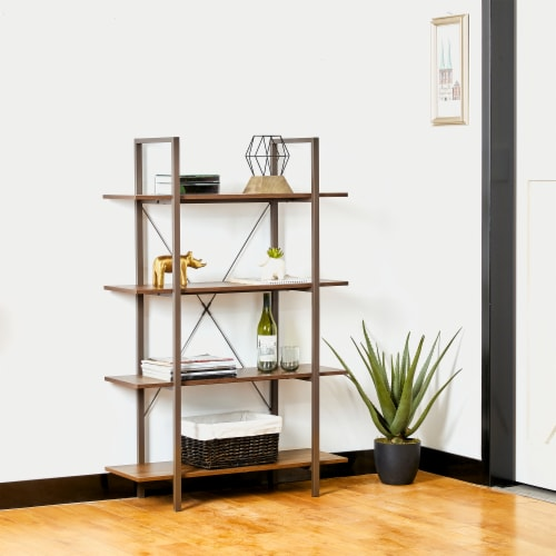 Glitzhome Modern Industry Metal/Wooden 4-Tier Bookcase & Shelves - Brown/Walnut Perspective: left