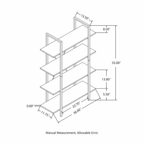 Glitzhome Modern Industry Metal/Wooden 4-Tier Bookcase & Shelves - Black Perspective: left