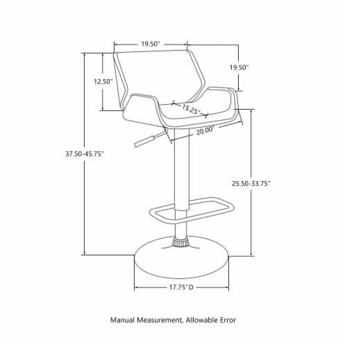 Glitzhome Modern PU Bentwood Adjustable Swivel Bar Stool - White/Black Perspective: left
