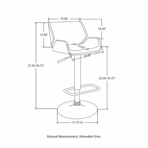 Glitzhome PU Bentwood Adjustable Swivel Bar Stool - Black/White Perspective: left