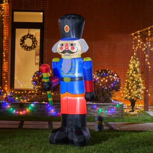 Glitzhome Lighted Inflatable Nutcracker Décor Perspective: left
