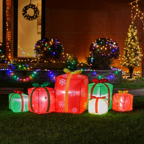 Glitzhome Lighted Inflatable Gift Boxes Décor Perspective: left