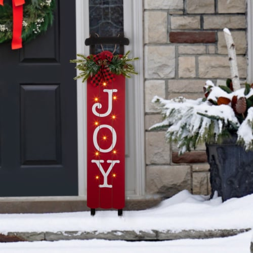 Glitzhome Lighted Wooden Sleigh JOY Porch Sign Perspective: left