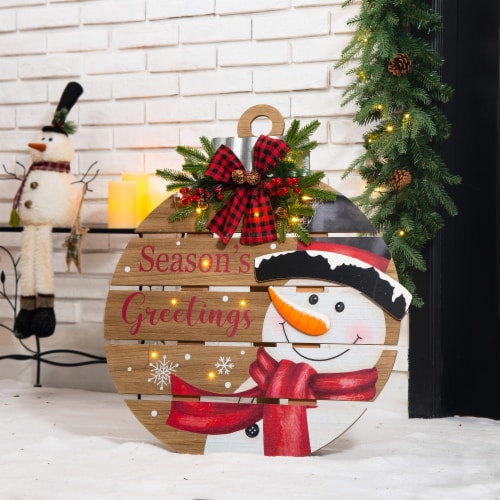 Glitzhome  Lighted Round Wooden Snowman Porch Décor Perspective: left