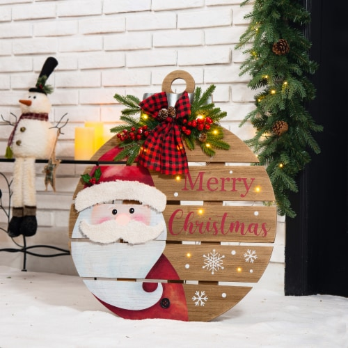 Glitzhome Lighted Round Wooden Santa Porch Décor Perspective: left