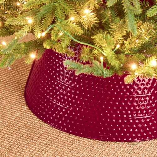 Glitzhome Hammered Metal Tree Collar - Red Perspective: left