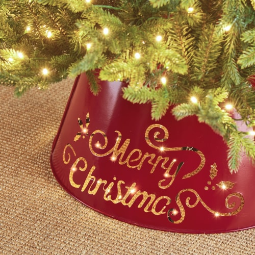 """Glitzhome """"Merry Christmas"""" Cutout Metal Tree Collar with Light String - Red Perspective: left"""
