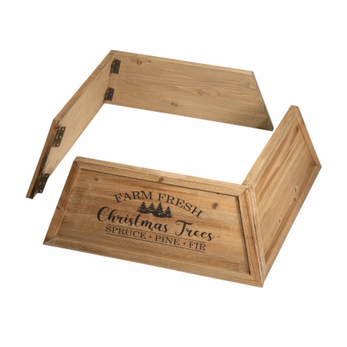 Glitzhome Wooden Trapezoid Farm Fresh Christmas Trees Tree Collar - Natural Perspective: left