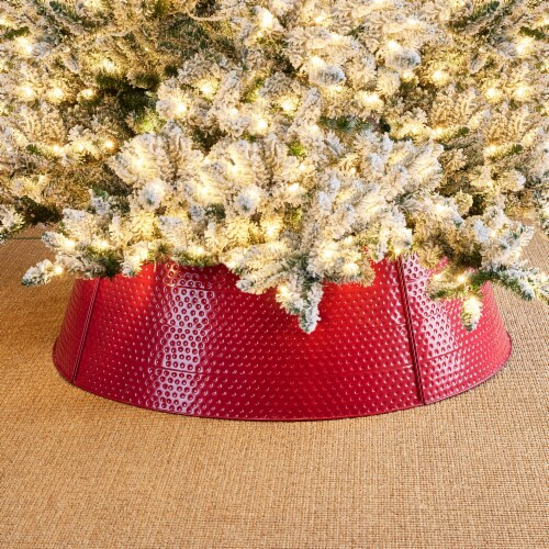 Glitzhome Christmas Red Hammered Metal Tree Collar Perspective: left