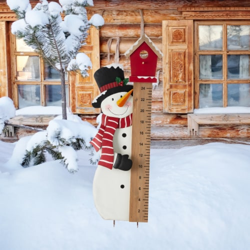 Glitzhome Snowman Snow Gauge Yard Stake or Wall Décor Perspective: left