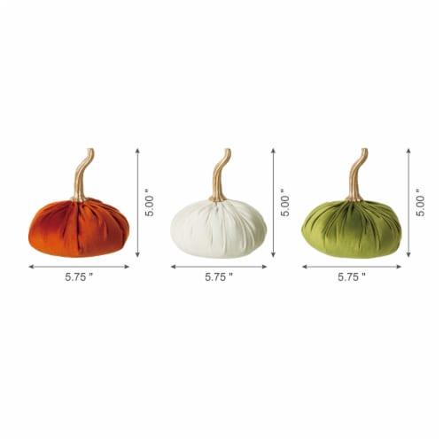 Glitzhome Orange White & Green Velvet Pumpkins Decor Perspective: left