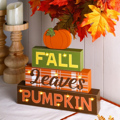 Glitzhome LED Lighted Fall Wooden Block Word Sign Perspective: left