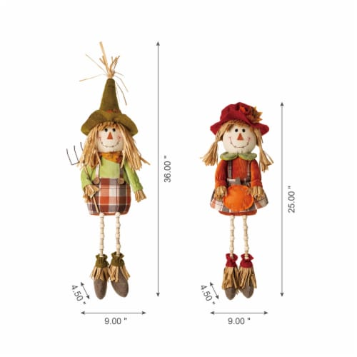 Glitzhome Fall Fabric Scarecrow Shelf Sitters Perspective: left